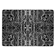 Black And White Tribal Geometric Pattern Print Samsung Galaxy Tab 10 1  P7500 Flip Case