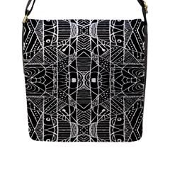 Black And White Tribal Geometric Pattern Print Flap Closure Messenger Bag (large)