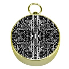 Black and White Tribal Geometric Pattern Print Gold Compass