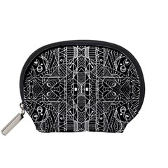 Black and White Tribal Geometric Pattern Print Accessory Pouch (Small)
