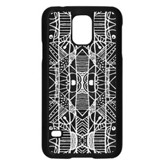 Black and White Tribal Geometric Pattern Print Samsung Galaxy S5 Case (Black)