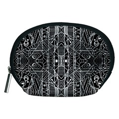 Black and White Tribal Geometric Pattern Print Accessory Pouch (Medium)