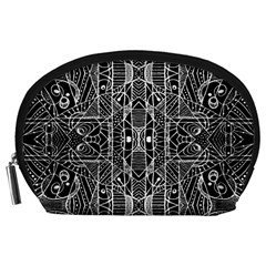 Black And White Tribal Geometric Pattern Print Accessory Pouch (large)