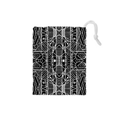 Black and White Tribal Geometric Pattern Print Drawstring Pouch (Small)