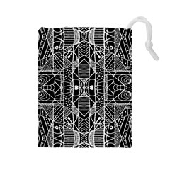 Black and White Tribal Geometric Pattern Print Drawstring Pouch (Large)