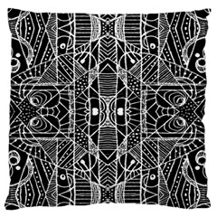 Black and White Tribal Geometric Pattern Print Large Flano Cushion Case (One Side)