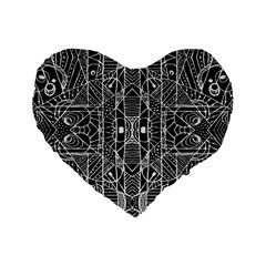 Black and White Tribal Geometric Pattern Print 16  Premium Flano Heart Shape Cushion