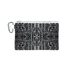 Black and White Tribal Geometric Pattern Print Canvas Cosmetic Bag (Small)