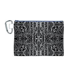 Black and White Tribal Geometric Pattern Print Canvas Cosmetic Bag (Medium)