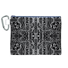 Black and White Tribal Geometric Pattern Print Canvas Cosmetic Bag (XL)