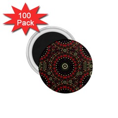 Digital Abstract Geometric Pattern In Warm Colors 1 75  Button Magnet (100 Pack)