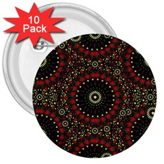 Digital Abstract Geometric Pattern In Warm Colors 3  Button (10 Pack)