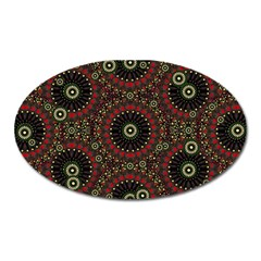 Digital Abstract Geometric Pattern in Warm Colors Magnet (Oval)