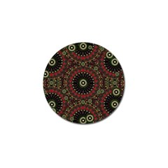 Digital Abstract Geometric Pattern In Warm Colors Golf Ball Marker