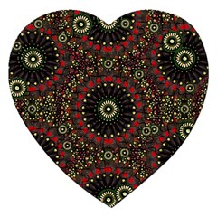 Digital Abstract Geometric Pattern In Warm Colors Jigsaw Puzzle (heart)