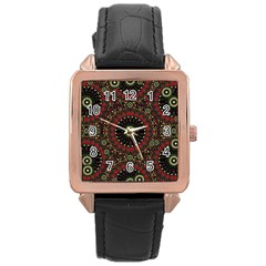 Digital Abstract Geometric Pattern In Warm Colors Rose Gold Leather Watch