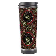 Digital Abstract Geometric Pattern in Warm Colors Travel Tumbler