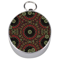Digital Abstract Geometric Pattern In Warm Colors Silver Compass