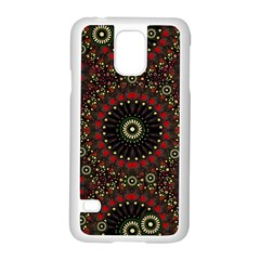 Digital Abstract Geometric Pattern in Warm Colors Samsung Galaxy S5 Case (White)