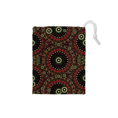 Digital Abstract Geometric Pattern in Warm Colors Drawstring Pouch (Small)