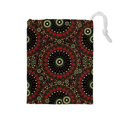 Digital Abstract Geometric Pattern In Warm Colors Drawstring Pouch (large)