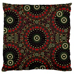 Digital Abstract Geometric Pattern in Warm Colors Large Flano Cushion Case (One Side)