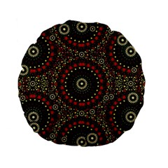 Digital Abstract Geometric Pattern in Warm Colors 15  Premium Flano Round Cushion
