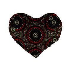 Digital Abstract Geometric Pattern in Warm Colors 16  Premium Flano Heart Shape Cushion