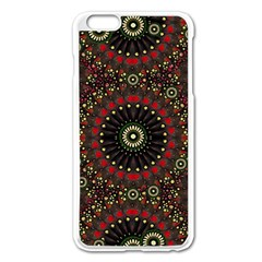 Digital Abstract Geometric Pattern in Warm Colors Apple iPhone 6 Plus Enamel White Case