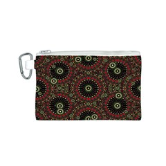 Digital Abstract Geometric Pattern in Warm Colors Canvas Cosmetic Bag (Small)