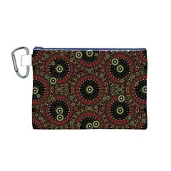 Digital Abstract Geometric Pattern in Warm Colors Canvas Cosmetic Bag (Medium)