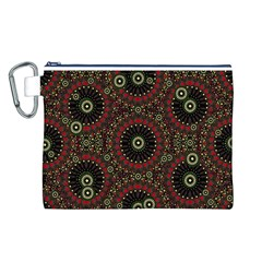 Digital Abstract Geometric Pattern in Warm Colors Canvas Cosmetic Bag (Large)