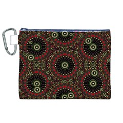 Digital Abstract Geometric Pattern in Warm Colors Canvas Cosmetic Bag (XL)