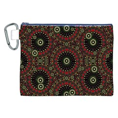 Digital Abstract Geometric Pattern in Warm Colors Canvas Cosmetic Bag (XXL)