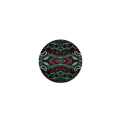 Tribal Ornament Pattern In Red And Green Colors 1  Mini Button