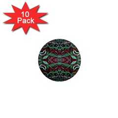 Tribal Ornament Pattern In Red And Green Colors 1  Mini Button Magnet (10 Pack)