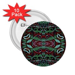 Tribal Ornament Pattern In Red And Green Colors 2 25  Button (10 Pack)