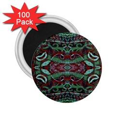 Tribal Ornament Pattern In Red And Green Colors 2 25  Button Magnet (100 Pack)