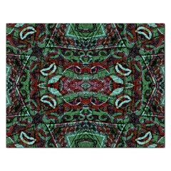 Tribal Ornament Pattern In Red And Green Colors Jigsaw Puzzle (rectangle)
