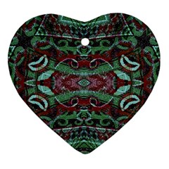 Tribal Ornament Pattern In Red And Green Colors Heart Ornament (two Sides)