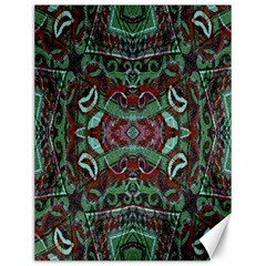 Tribal Ornament Pattern In Red And Green Colors Canvas 12  X 16  (unframed)