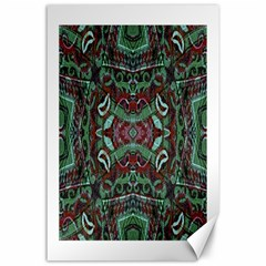 Tribal Ornament Pattern In Red And Green Colors Canvas 24  X 36  (unframed)