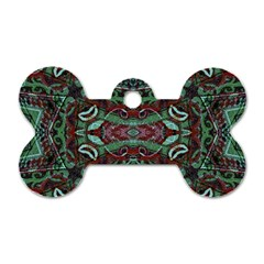 Tribal Ornament Pattern in Red and Green Colors Dog Tag Bone (Two Sided)