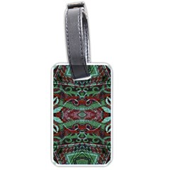 Tribal Ornament Pattern in Red and Green Colors Luggage Tag (One Side)