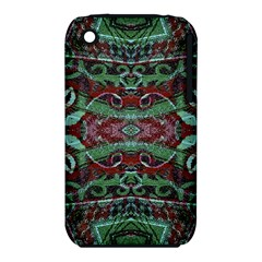 Tribal Ornament Pattern in Red and Green Colors Apple iPhone 3G/3GS Hardshell Case (PC+Silicone)