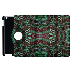 Tribal Ornament Pattern in Red and Green Colors Apple iPad 3/4 Flip 360 Case