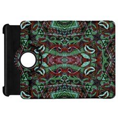 Tribal Ornament Pattern In Red And Green Colors Kindle Fire Hd Flip 360 Case