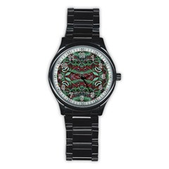 Tribal Ornament Pattern in Red and Green Colors Sport Metal Watch (Black)