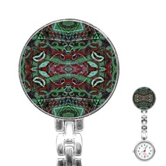 Tribal Ornament Pattern In Red And Green Colors Stainless Steel Nurses Watch