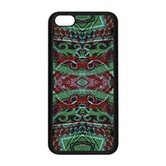 Tribal Ornament Pattern In Red And Green Colors Apple Iphone 5c Seamless Case (black)